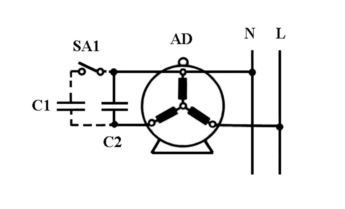 схема с пускателем для трехфазного двигателя до 75 квт