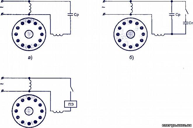 Схемы обмоток однофазных